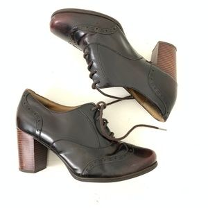 Clark's Mahogany Leather Oxford 3in Pumps 9
